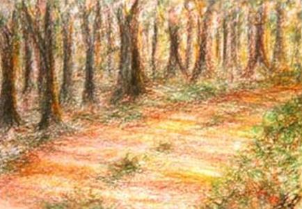 Holka Edit: Úton (olaj, pasztell-kréta, papír, 30x42cm)