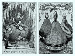 Charles Goodall & Son, a látogató kártyák - a névjegykártya elődje - angliai kiadója volt az első a karácsonyi üdvözlő és látogatói kártyák tömegtermelésében.