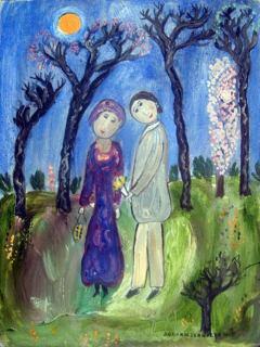 Dora Spring: Szerelmes pár (olajfestmény)