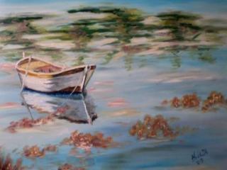 Nyéki Andrea: Csónak a nyugodt tavon